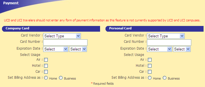 Payment section for entering Company Credit Card or Personal Credit Card information